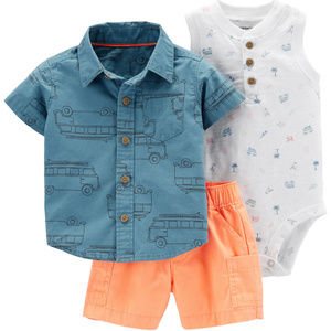 Baby Boy Shirt Bodysuit Short Set Beach Clothes